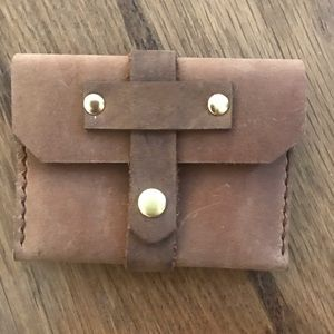 Real leather credit card pouch